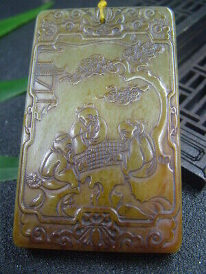 Chinese Antique Celadon Nephrite Hetian-OLD Jade Play chess Statue/Pendant