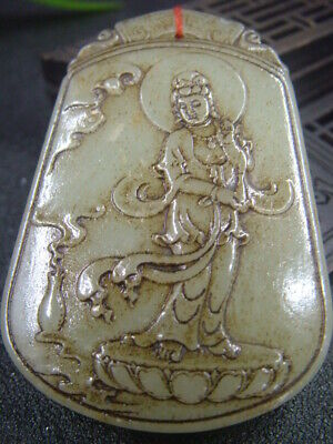 Chinese Antique Celadon Nephrite Hetian-OLD Jade KUANYIN Statue/Pendant
