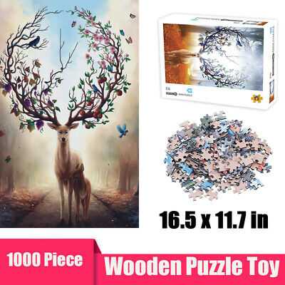 Elks Puzzle 1000 Piece Mini Wooden Jigsaw Decompression Game Toy Gift Difficulty