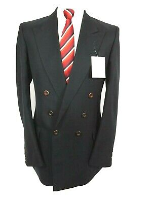 """M&S mens Dble breasted Formal Jacket Blazer Ch40""""L  Navy"""