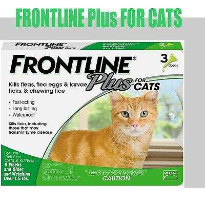 Frontline Plus Flea and Tick 3 Months Treatment for Cats 3-Doses[EXP:05/2022]