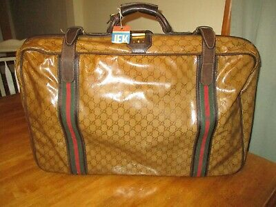 Vintage GUCCI 1970S  GG logo  Suitcase  Leather Trim Luggage damaged