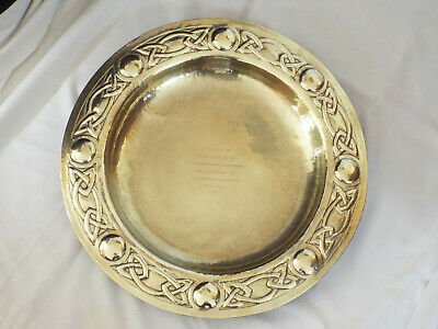 "Large Glasgow School Arts & Crafts 18"" brass tray, Celtic knotwork."