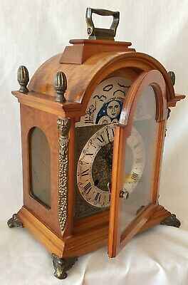 Mantel Shelf Clock W. Haid Moon Dial 8 Day Wind Up 1975 Double Bells