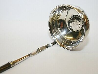 Antique Georgian Silver Toddy Ladle Twisted Handle & 1723 Silver Shilling Coin