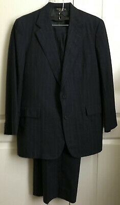 Men's Wool Navy Pinstripe BROOKS BROTHERS 2pc Suit Classic Fit 42 R