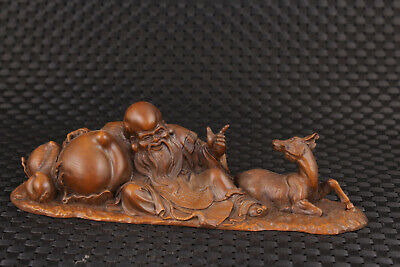 Chinese old boxwood hand carved buddha shouxing statue netsuke collectable