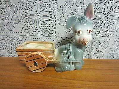 """VINTAGE DONKEY WITH A CART PLANTER~7 1/2"""" x 8"""""""