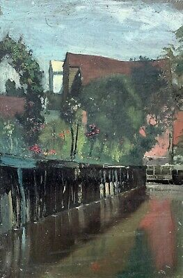 Frank Hobden (1859-1936) Fine English Impressionist Oil - Backwater Town & Canal