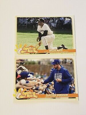 (2) 2020 Topps Opening Day Willie Mays Clayton Kershaw Spring Has Sprung Lot