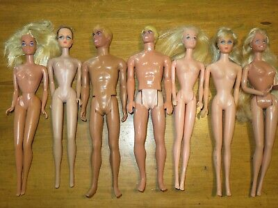 Vintage Lot Of Mattel Barbie Dolls Ken, Beauty Secrets Midge Mod Era