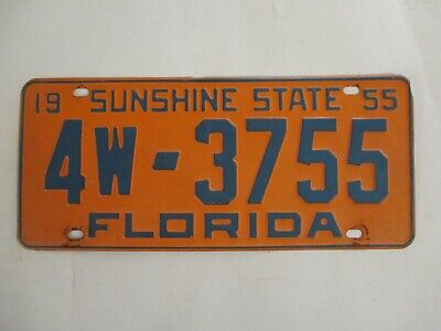 1955 Florida PINELLAS CO License Plate Tag REGISTERABLE ends in 55!