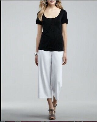Eileen Fisher White Stretch Crepe Wide Leg Crop Pants 3X