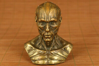 rare chinese old bronze hand carved skull man statue collectable ornament