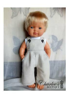Miniland doll boy overalls with singlet (Made In Perth)