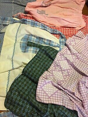 Lot Of 6 Vintage Half Aprons Gingham Embroidered Checkered