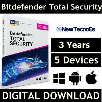 BITDEFENDER Total Security 2020 5 Devices 3 Years VPN - (Key - Activation code)