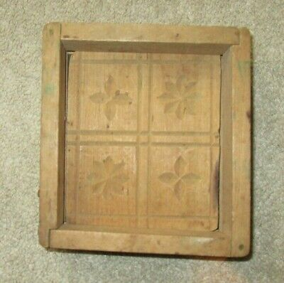 ANTIQUE HAND CARVED FOLK ART WOODEN BUTTER PRINT MOLD PRESS BOX 4 Shapes
