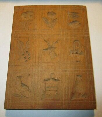 HAND CARVED FOLK ART WOODEN BUTTER PRINT MOLD PRESS SIGNED 9 Pictures