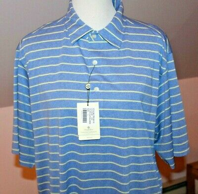 Donald Ross 2020 Golf Polo Shirt Dolphin Blue Yellow Sport Stripe Large NEW