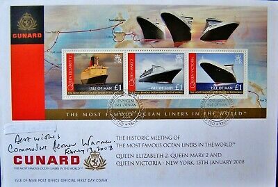 Scarce THREE Cunard Ocean Liners Meet in New York 2008 PNC SIGNED by Commodore