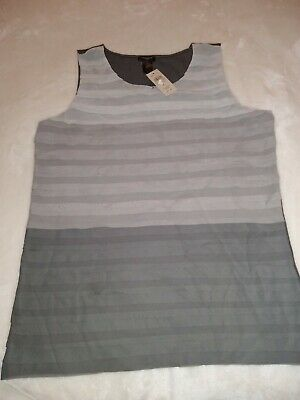 Nwt Ann Taylor LOFT Women's  Sleeveless Blouse Top Ruffled Front Large