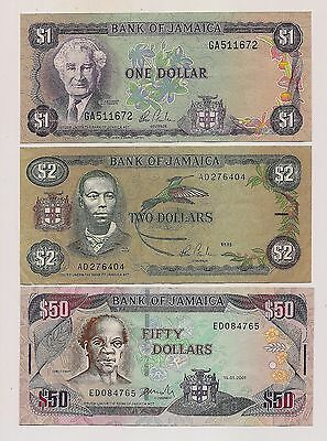 Three Bank of Jamaica Banknotes--Very Fine Condition !