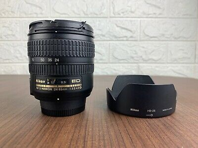 Nikon AF-S NIKKOR 24-85mm f/3.5-4.5 G ED F Mount Lens w/Hood Excellent Japan