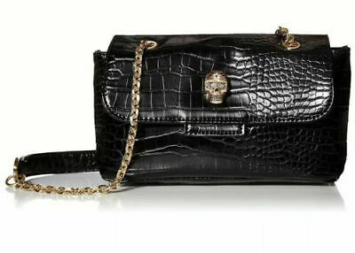 Betsey Johnson Heads Up Small Crossbody Black Croc Skull Chain Handle NWOT