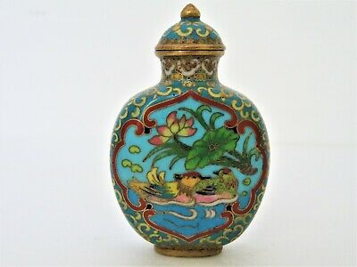 Antique Chinese Late Qing Dynasty / Republic Era, Cloisonne Enamel Snuff Bottle