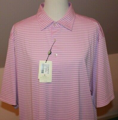 Donald Ross 2020 Golf Collection Polo Shirt Tonal Feed Stripe Hibiscus XL NEW