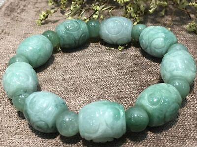 Chinese Exquisite Handmade Carving jadeite jade beads Bracelet certified2521