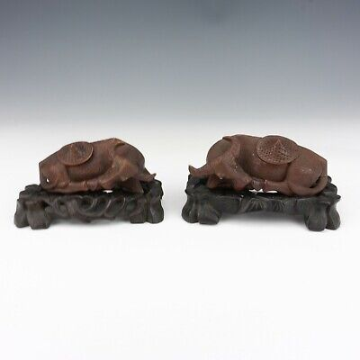 Antique Chinese Carved Hard Wood Oriental Oxen - On Original Bases..