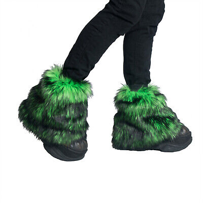 PAWSTAR Pony Puff Leg Warmer furry rave dance fluffies music lime [WFLI]2594