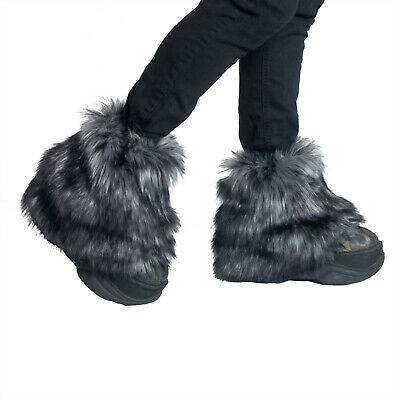 PAWSTAR Pony Puff Leg Warmer furry rave dance fluffies music Gray grey[WFGY]2594