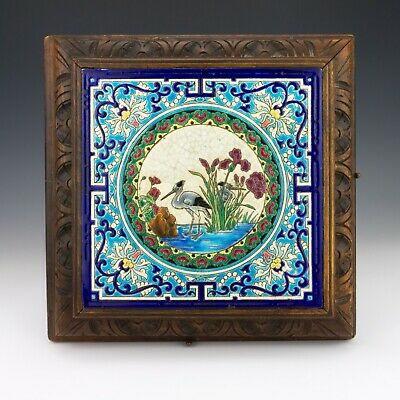 Antique Longwy French Pottery Tile Mounted Musical Stand - Unusual!