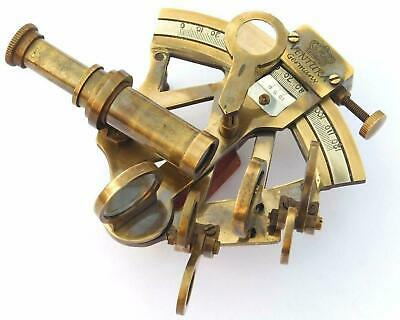 Antique Handmade Solid Brass Sextant Vintage Collectible Marine Astrolabe Gift.