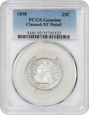 1858 25c PCGS XF Details (Cleaned) - Liberty Seated Quarter