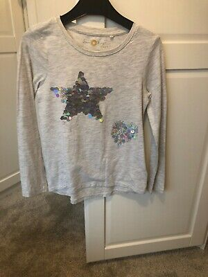 Next Girls Grey Sequin Star And Heart T Shirt, Hardly Worn, Age 7 Years