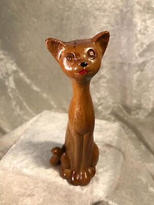 Vintage Ross Products Faux Wood Kitty Cat With Rhinestone Eyes Figurine