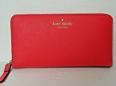 Kate Spade New York Leather Wallet Zip Around Cedar Street Lacey Geranium NWT