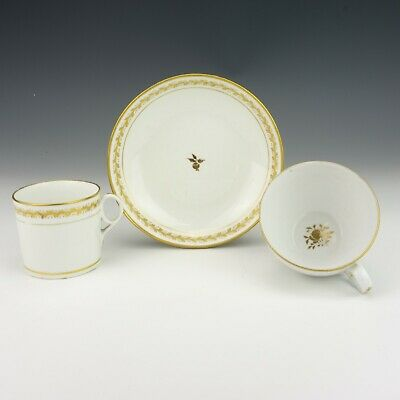 Antique Spode Porcelain Gilded Two Cup & Saucer Trio- Early!