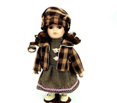 Porcelain Doll Brown Collectible Figurine Home Decor Vintage Dress Collection