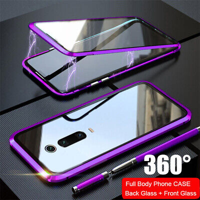 For Xiaomi Mi 9T 360 Full Magnetic Adsorption Metal Case 9H Tempered Glass Cover