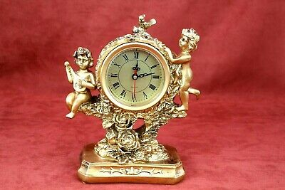 Antique Desk Clock Gold Color French Old Victorian Style Shelf Clock With Engles
