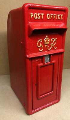 Replica Royal Mail GR Red Postbox Letter Box - Cast Iron - Damaged - No Reserve