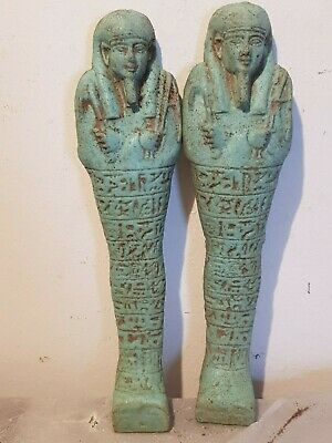 Rare Antique Ancient Egyptian 2 Ushabti Servant Minions dead mummy 1820-1750BC