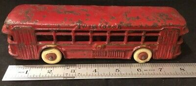 Antique Dent Hardware Cast Iron Toy Red Twin Motor Coach Estate Find!