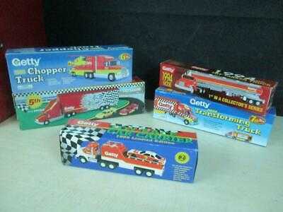 (5) Getty Oil Toy Trucks Gas Station Oil Premiums Promo Mib Lot Nice!