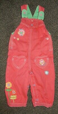 Baby Girls Pink  Dungarees Age 9-12 Months Marks & Spencer Vgc